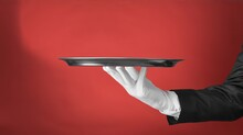 Elegant Waiter Hand In White G...
