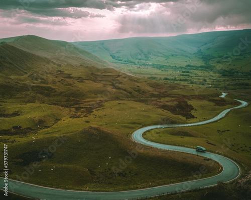 Snake Pass of Peak District from Mam Tor peak Tapéta, Fotótapéta