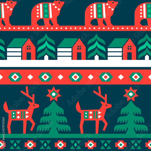 Photographie Christmas traditional folk forest seamless pattern