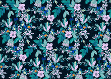 Beautiful Exotic Flowers On Black Background Seamless Pattern