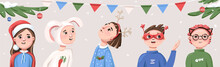 Horizontal New Year's Banner With People In Holiday Costumes And Decorated With Christmas Tree Branches, Flags, Christmas Balls And Snow. Great For Flyers, Posters, Headers. Vector Illustration.