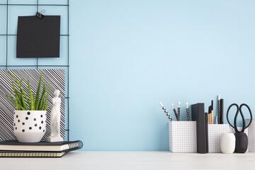 Blue workspace desk mock up.