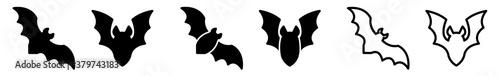 Foto Bat Icon Black | Flying Bats Illustration | Halloween Symbol | Vampire Logo | Sc
