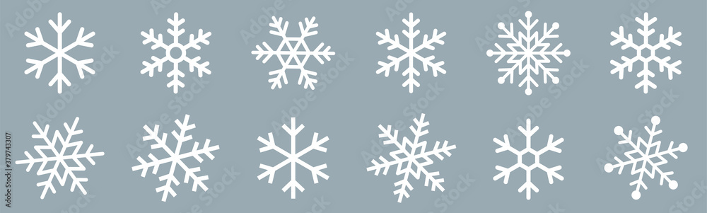 Fototapeta Snowflakes icons set. Snow sign. Snowflakes template. Snowflake winter. Snowflakes icons. Snowflake vector icon on white background.
