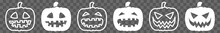 Halloween Pumpkin Icon White | Pumpkins Illustration | Autumn Symbol | Jack-O-Lantern Logo | Pumpkin Face Sign | Isolated | Variations
