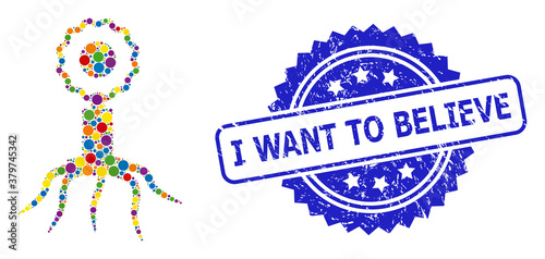 Scratched I Want to Believe Stamp Seal and Colored Mosaic Virus Cell Wallpaper Mural
