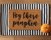 Fall Welcome Mat And A Pumpkin