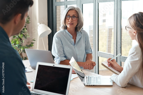 Mature old female mentor coach supervisor training young interns at group office meeting professional workshop Wallpaper Mural
