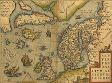 Antique Map Of The North Sea -...