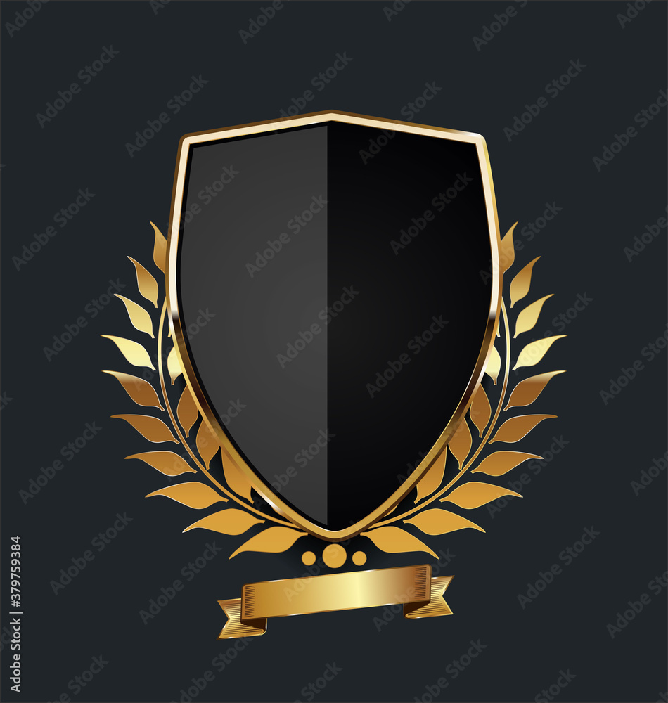 Fototapeta golden shield with golden laurel wreath