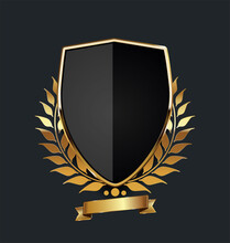 Golden Shield With Golden Laur...