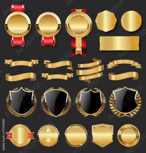 Obraz na plátně collection golden badges labels laurels shield metal plates (3)