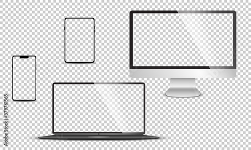 Fototapeta Realistic set of monitor, laptop, tablet, smartphone - Stock Vector illustration. obraz