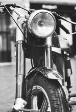 Vintage Motorcycle On Street. Made In Catalunya.