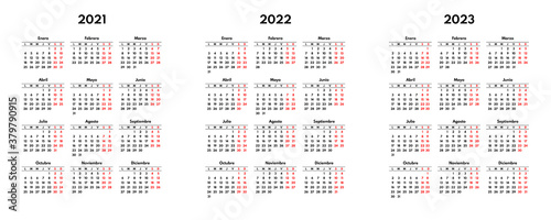 simple 2021 2022 2023 spanish calendar grid, starts monday, two weekend