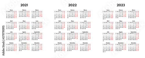 Obraz na plátně simple 2021 2022 2023 spanish calendar grid, starts monday, two weekend