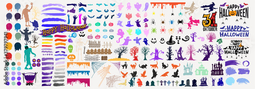 Collection of halloween silhouettes black, yellow, orange, green icon and character for your design. Freehand drawing. Mega set colored cartoon vector illustration. Isolated on white background.