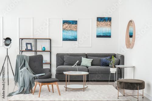 Fototapeta Stylish interior of living room with grey furniture obraz