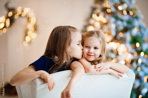 Fototapeta two funny little girls in a chair on the background of a Christmas tree. new year celebration with children. sisters on winter vacation. leisure with kids. traditional annual photo shoot. obraz