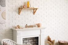 Modern Fireplace Near Wall In ...