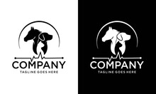 Pet Clinic Logo With Dog, Cat And Horse With Cross Symbol