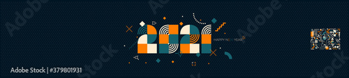 Fototapeta 2021 New Year logo design composed from geometric shapes. Greeting with multicolored number of year. Template for greeting card, invitation, banner. Vector illustration isolated on green background. obraz