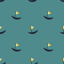 Cute Boat Ilustration Seamless...