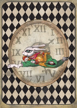 Alice In Wonderland Watercolor  Grunge Icons A4 Flash Cards With Diamond Victorian Background