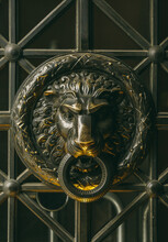 Medieval Knocker With A Lion Face