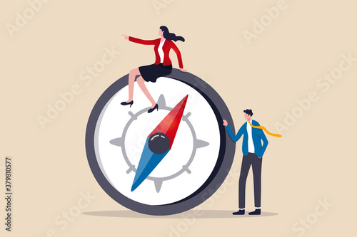 Fototapeta Women leadership, successful female lead business direction or lady visionary to achieve goals concept, confidence smart lady businesswoman team leader in formalwear sitting on compass leading the way obraz