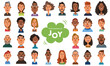 Facial expressions of joy. Smiling men and women. Set of diverse people on white background. Vector illustration in flat cartoon style.