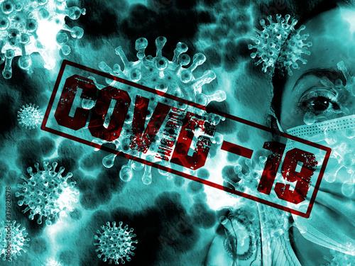 Eine Frau mit Maske und Covid-19 Coronavirus Fototapete