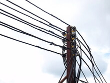 Many Electric Lines On Metal P...