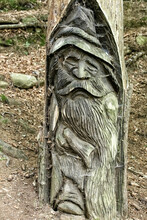 Wooden Dwarf With Hat And Long Moustache