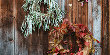 Fall Front Porch. Autumn Wreat...