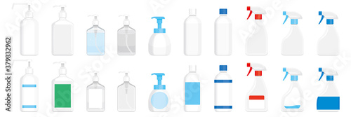 Tela 除菌用アルコール、洗剤の容器。スプレー、ボトル、ポンプ。