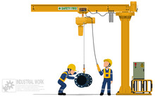 Two Workers Are Operating Jib Crane On White Background