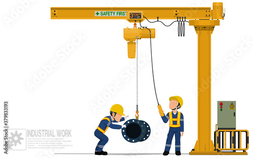 Two workers are operating jib crane on white background Wallpaper Mural