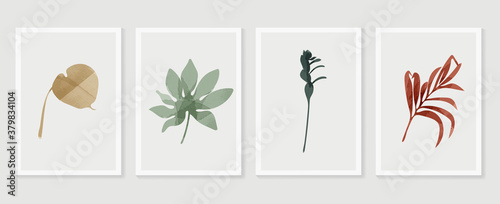 Botanical wall art vector set. Tropical leaf Foliage line art drawing with abstract shape.  Abstract Plant Art design for print, cover, wallpaper, Minimal and  natural wall art.