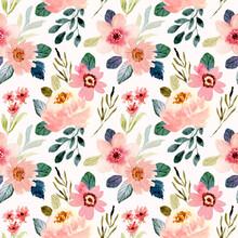Cute Peach Flower Watercolor Seamless Pattern