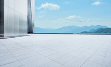 Empty Concrete Tiles Floor Wit...