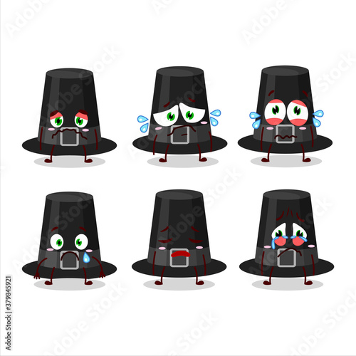 Black pilgrims hat cartoon character with sad expression Canvas Print