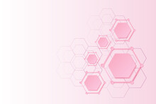 Abstract Geometric Vector Illustration, Pink  Hexagon Paper Cut On Light Pink Gradient Background With Copy Space, Paper Art Style