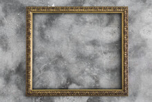 Gold Picture Frame On Concrete Background - Horizontal
