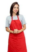 Awesome Caucasian Waitress With Red Apron