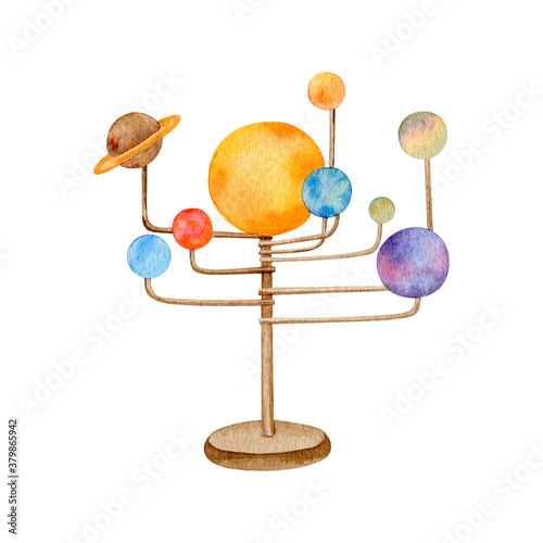 Photo Watercolor solar system model globe