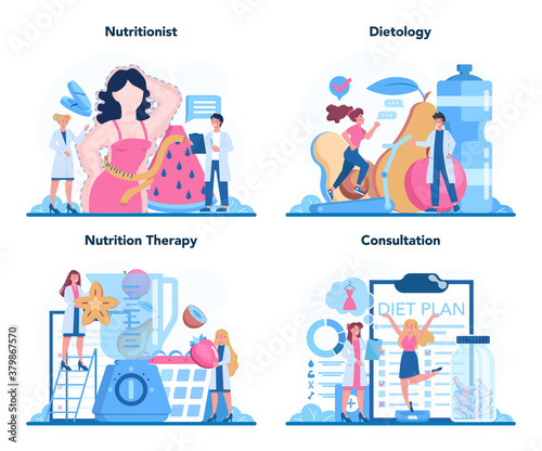 Fototapeta Nutritionist concept set. Nutrition therapy with healthy food obraz