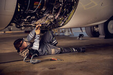 Repair And Maintenance Of Aircraft Engine On The Wing Of The Aircraft