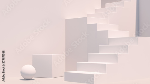 Obraz Product setting podium white abstract minimalistic geometry, minimal light interior, object placement, abstract gray background room, 3d rendering, - fototapety do salonu
