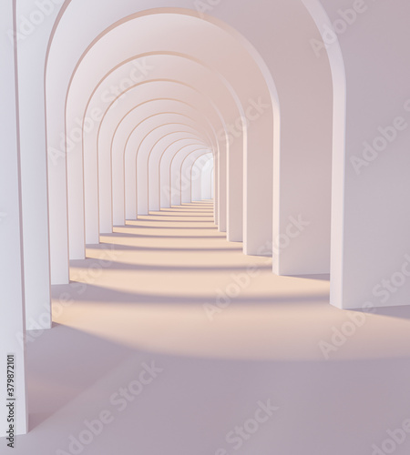 Photo White Corridor arches. 3d rendering